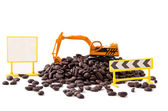 Backhoe and coffee beans (2) — Stock fotografie