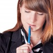 Businesswoman with pen — Stock Photo