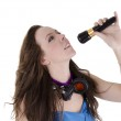 Young woman with microphone — Stock Photo #12175457