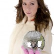 Young woman with disco ball — Stock Photo