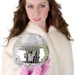 disko topu olan kadın — Stok fotoğraf