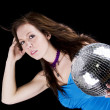 Young woman with disco ball — Stock fotografie
