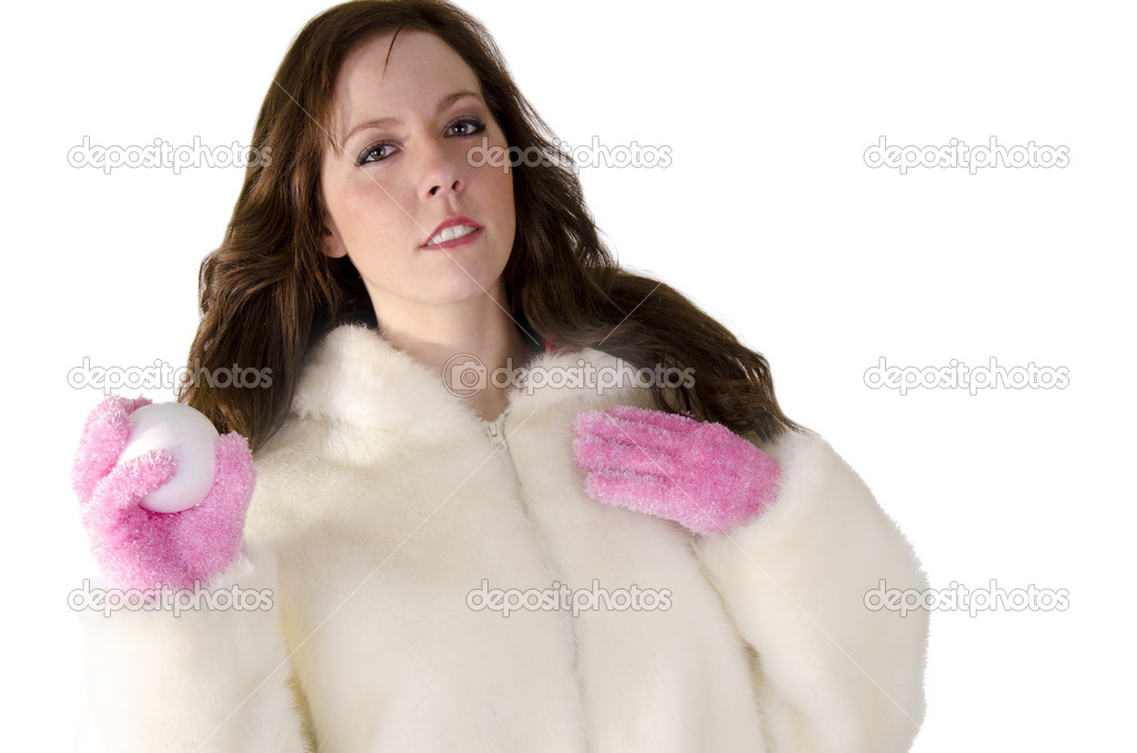 Young woman with snowball on over white. — Stock Photo #12175604