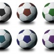 colorful 3d soccer balls isolated on white background — Stock Photo