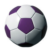 Purple leather soccer ball isolated on white — Stock Photo