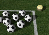 Golden ball different from the others — Stock Photo