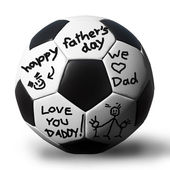 Handwriting on a soccerball for your father — Stock Photo