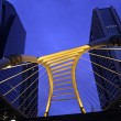 Stock Photo: Pubic skywalk at bangkok downtown square night in business zone