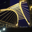 Pubic skywalk at bangkok at night in business zone — Stock Photo