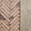 Stock Photo: Herringbone brickwall and Stone bract