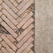 Herringbone brickwall and Stone bract — Stock Photo