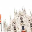 Milan Cathedral Dome and Metro Underground Signal. Italy, Europe - Stock Photo