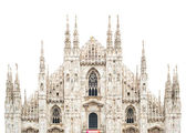 Milan Cathedral Dome upper front isolated on white. Italy, Europ — Stock Photo