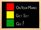 On Your Mark, Get Set, Go,traffic light concept blackboard — Stock Photo