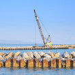 Crawler Crane  at work on a river and sea shore — Stock Photo