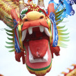 Head of a dragon decorating the streets in Melaka to celebrate the Chinese new year. — Stock Photo