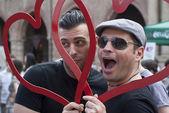 Participants at gay pride 2012 of Bologna — Stock Photo