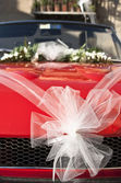 Red wedding car — Stock Photo