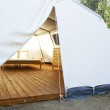 Large camping tent open — Stock Photo
