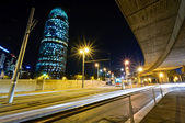 Torre Agbar night view. Barcelona, Spain. — Stock Photo