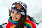 Hübsche frau porträt im freien im winter — Stockfoto