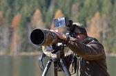 Wildlife photographer outdoor — Stock Photo