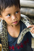 Child Snake Performer — Stock Photo