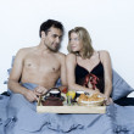 romantická snídaně v posteli — Stock fotografie