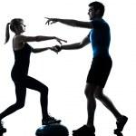 Aerobics intstructor with mature woman exercising — Stock Photo
