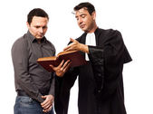 Lawyer man and his client — Stock Photo