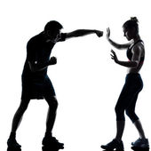 One couple man woman exercising workout fitness — Foto de Stock