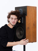 Man listening music lover speakers — Stock Photo