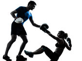 Man woman boxing training — Stock Photo