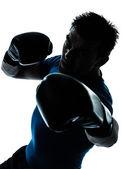 Man exercising boxing boxer posture — Stock Photo