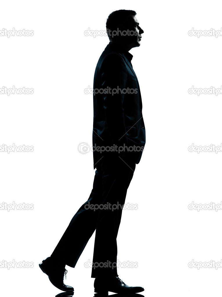 Businessman standing in suit isolated vector silhouette