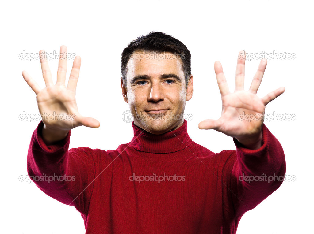 Caucasian man 10 ten  counting gesture studio portrait on isolated white backgound — Stock Photo #11294507