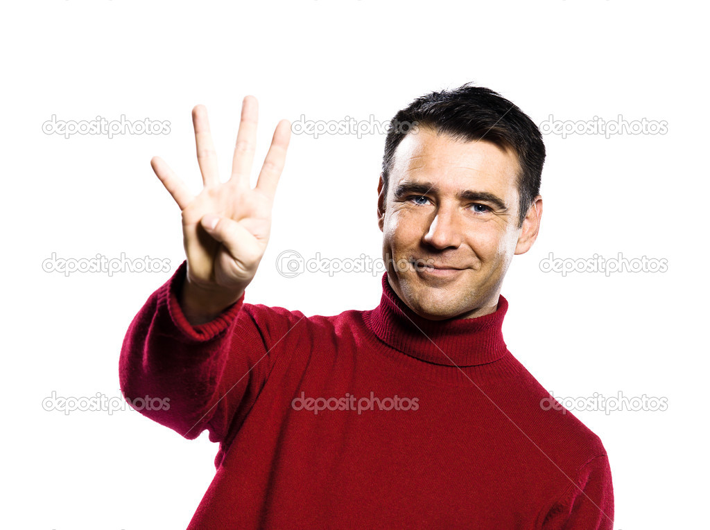 Caucasian man 4 four  showing  fingers  counting gesture studio portrait on isolated white backgound  Stock Photo #11294509