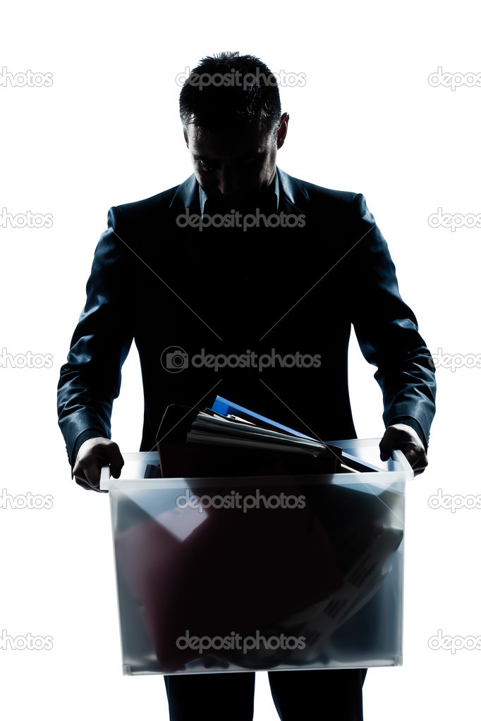 One caucasian man portrait silhouette carrying heavy box in studio isolated white background — Stock Photo #11294537