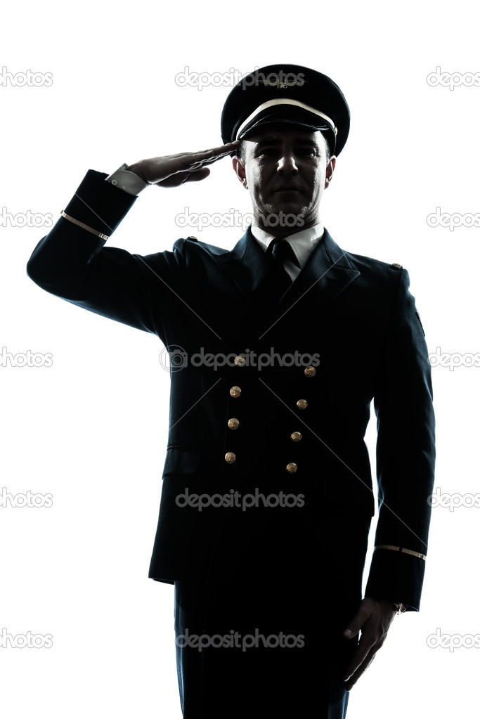 One caucasian man in airline pilot uniform saluting silhouette  in studio isolated on white background — Stock Photo #11294546