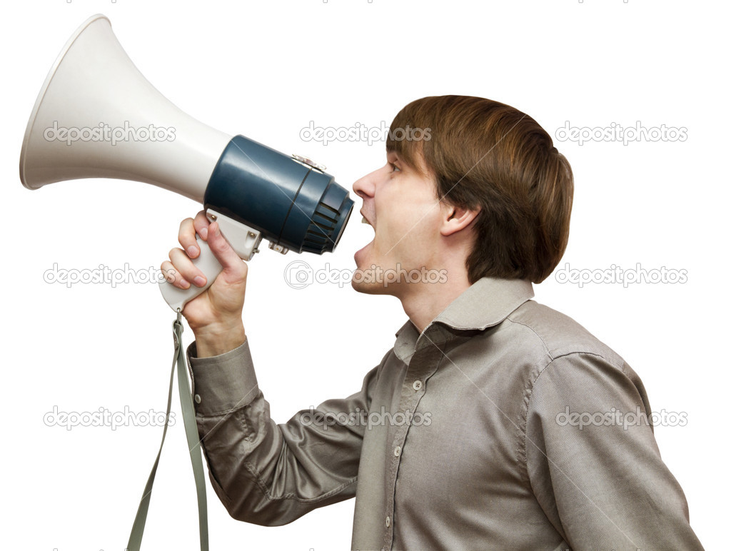 Man with bullhorn isolated on a white background — Stock Photo #10911376