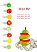 蔬菜和水果叉上 — 图库照片