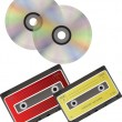 CD discs and cassette. — Stock Vector