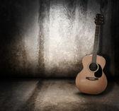 Akoestische muziek gitaar grunge achtergrond — Stockfoto