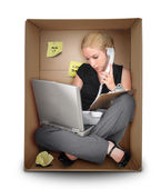 Small Business Woman in Office Box — Stok fotoğraf