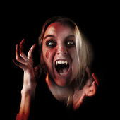 Scary Vampire Halloween Girl on Black — Stock Photo