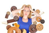 Diet Scare Woman on White with Snack Food — Stock Photo