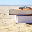 Vacation Beach with Books in Sand - Stock Photo