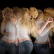Woman Club Dancing on Black - Stock Photo