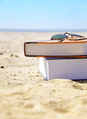 Vacation Beach with Books in Sand — Stock Photo
