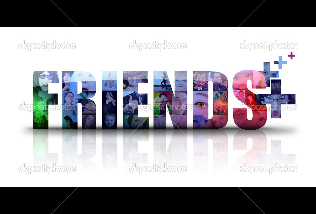 The word Friends is isolated on a white background with different in photos for the background. There is a add sign for new friends. use it for a social media concept. — Stock Photo #10914226